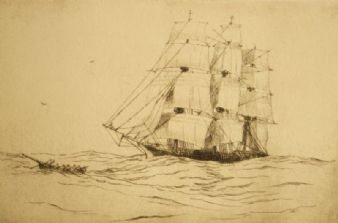 Original Whaler etching pencil signed William Alexander Cuthbertson 1900's